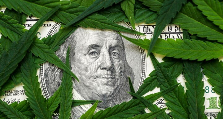 The face of Benjamin Franklin on the hundred dollar banknote among cannabis leaf
