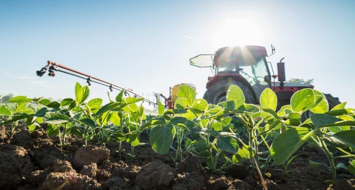 A tractor fertilizing a soybean field