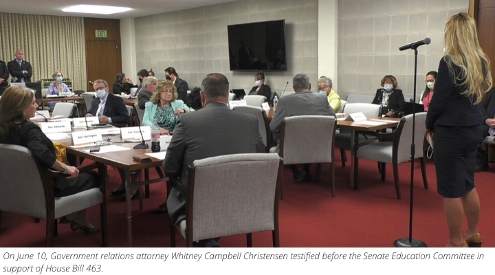 On June 10th, Whitney Campbell Christensen testified before the Senate Education Committee in support of House Bill 463.