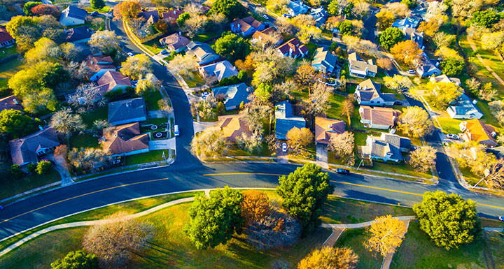 Aerial view of houses in a subdivision