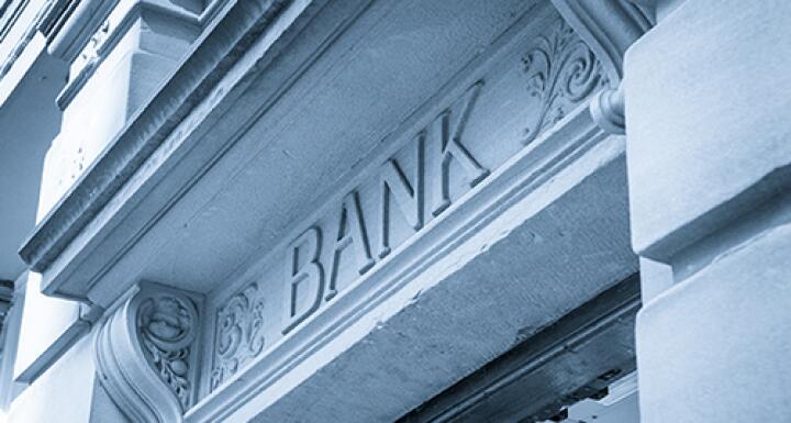 Close up shot of the word bank