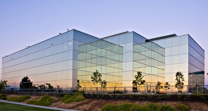 Commercial building with sunlight reflecting