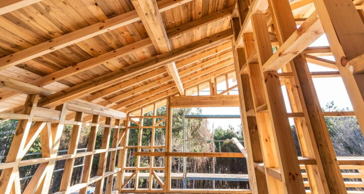 Wood framing of a house on a construction site