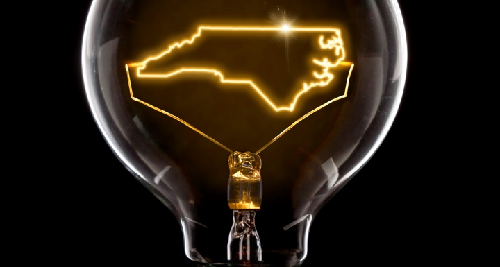 Lightbulb with filaments in the shape of the state of North Carolina