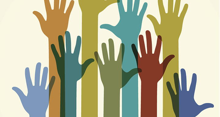 Silhouette of hands being raised and each hand is a different color