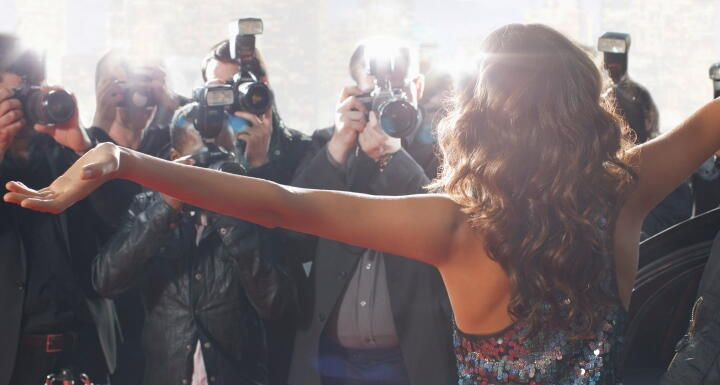 Actress on red carpet getting picture taken