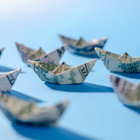 origami boats made out of money