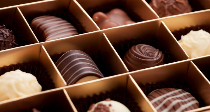 A box of different chocolates