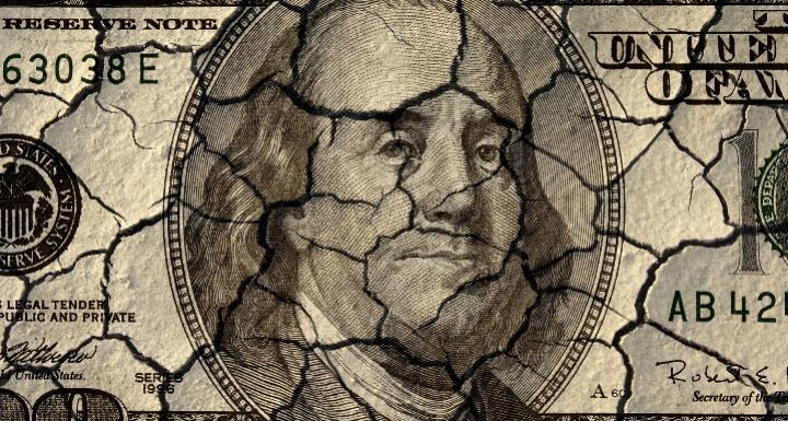 Cracked hundred dollar bill
