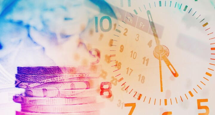 Double exposure of calendar, paper money, and stack of coins