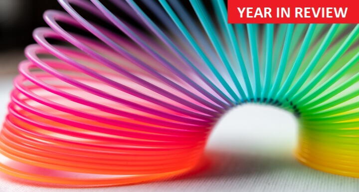 Multi colored slinky illustrating flexibility