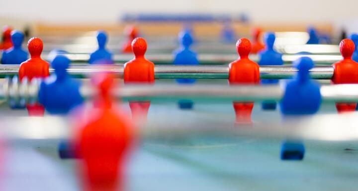 Closeup of foosball table