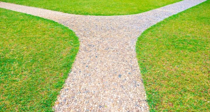 A gravel path that slits