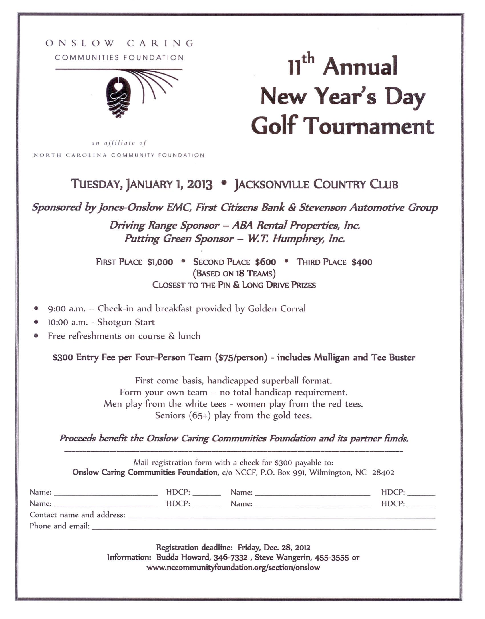 New Years Day Golf Tournament Registration Begins North Carolina