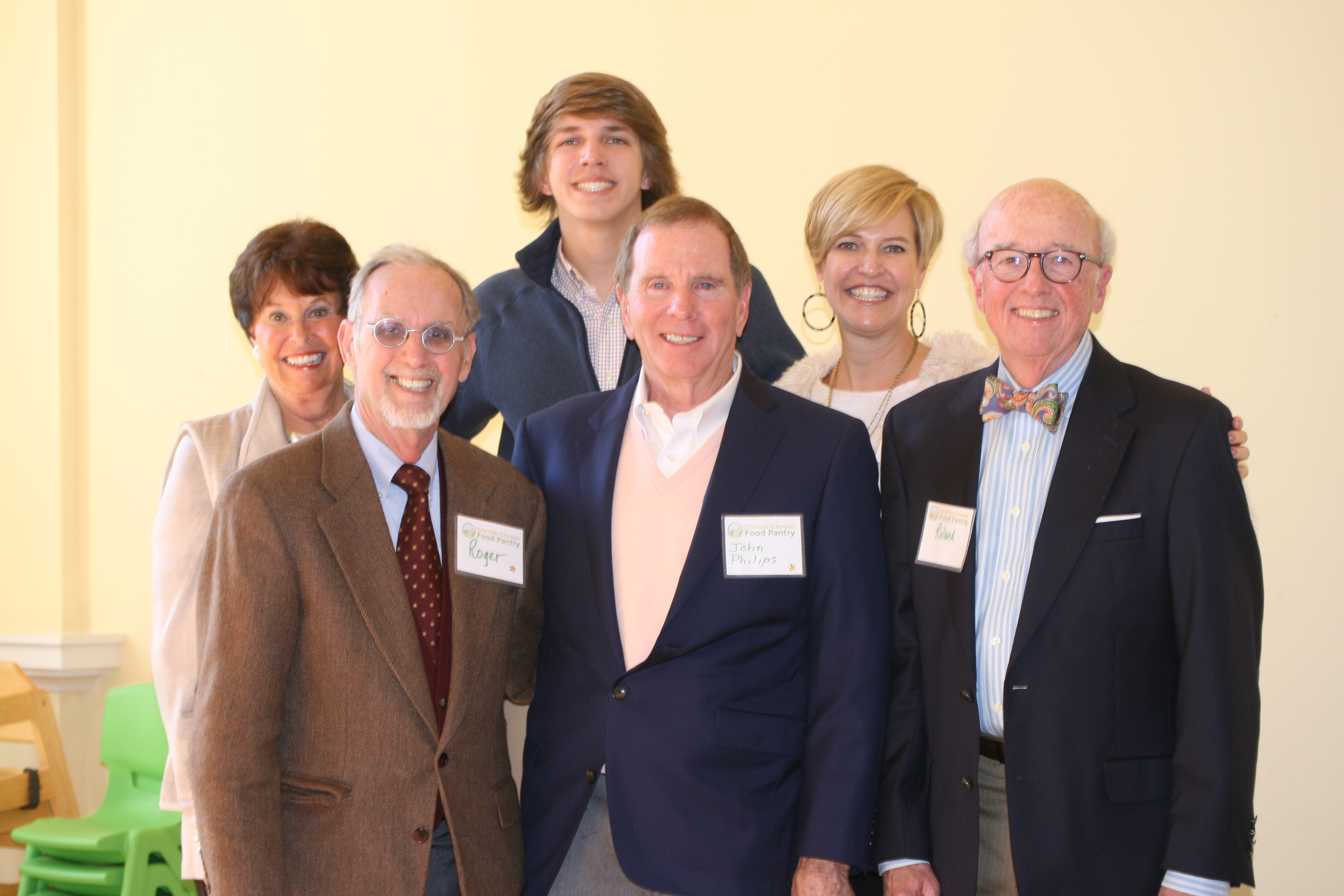 Pictured (left to right) are: First row: Coleman, Philips and Vaughan; Second row: Pam Phillips, Parker Swisher and Jill Swisher enjoying the community celebration culminating the successful completion of the 100 Grand Challenge.