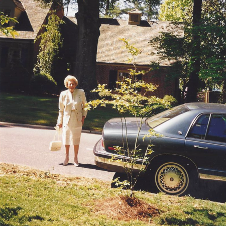 Ernestine Williams in front of her home.
