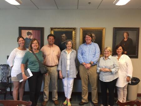 Left to right: Chowan Community Funds Foundation Board President Katharine Farless, Robin Sams, John Bryant, Mary Ann Climer, Paul Hicks, Lynne Layton and Cynthia Harding.