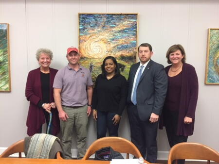 Pictured is Columbus County Community Foundation Board President Becky High (far right) inducting new CCCF board members (left to right) Lisa Richey, Adam Wooten, Amber Bellamy and Kevin Williamson.