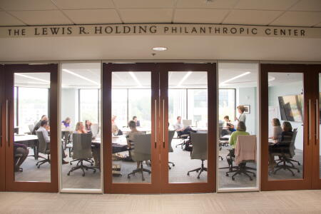 The Lewis R. Holding Philanthropic Center is the cornerstone of NCCF's Raleigh headquarters, and we are happy to share it with our philanthropic partners across the state. The space also provides room for our full staff to gather for collaboration.