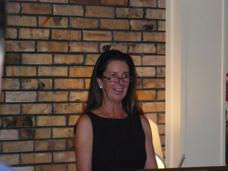 Mary Ellen Lauder, President of the Harnett County Community Foundation, address the reception.