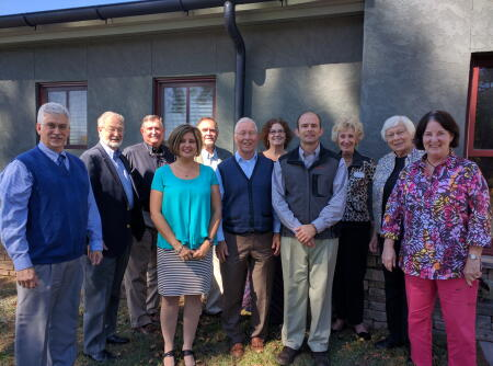 L-R: Carmine Rocco and Dave Riggs, The Good Samaritan Clinic; Gary Lance and Belva Evans, HCCF Board members; Jim Geenen, Haywood County Gleaners; Jim Bromley, HCCF Board Member; Kimblery Czaja, The Community Kitchen; Clay Dangerfield, HCCF Board Member; Lois Beery Fulmer, Clothes to Kids of Haywood County; Wilma Boatwright, HCCF Board Member; and Donna Koger, Haywood County Gleaners.