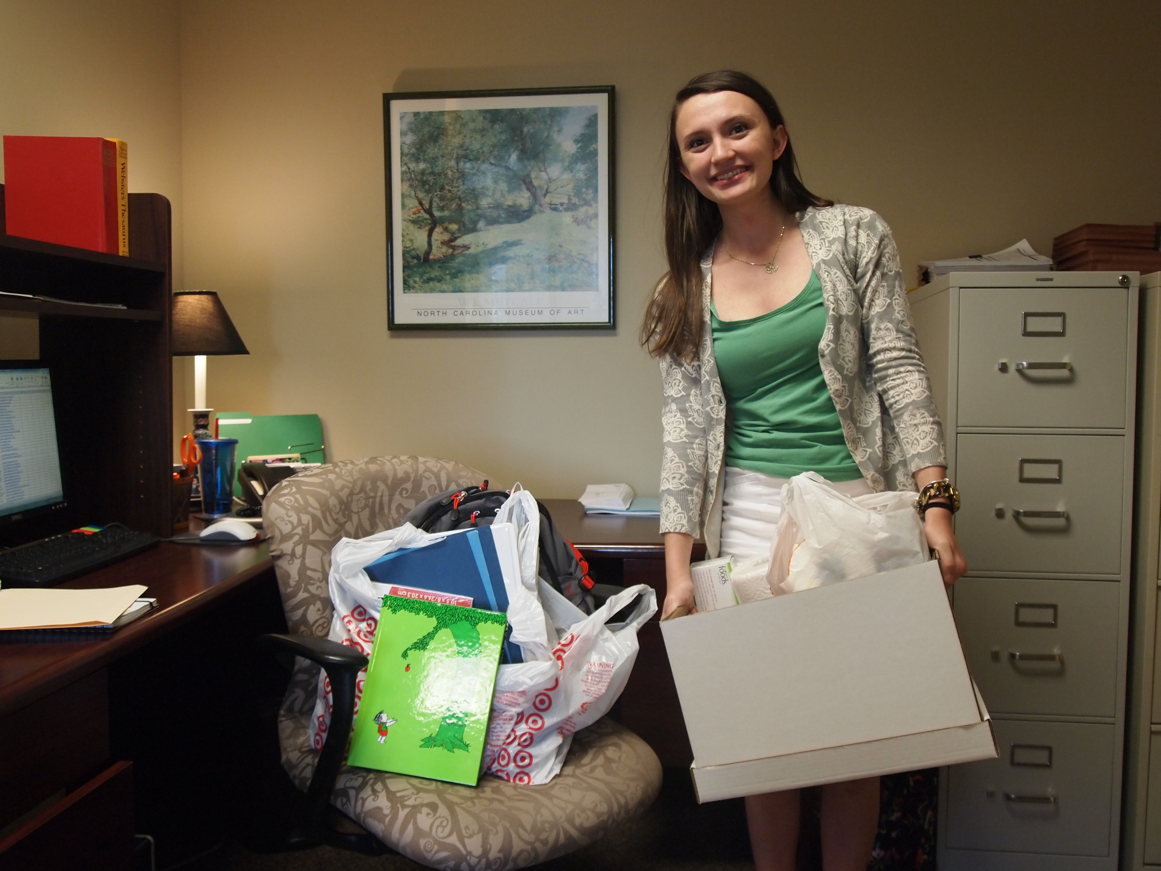 Brittaney Rea, NCCF intern, spearheaded our collection of school supplies for a child in need.