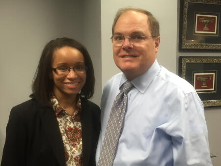 Jasmine Lucas (left) and Oliver Crawley of the Lee County Community Foundation.