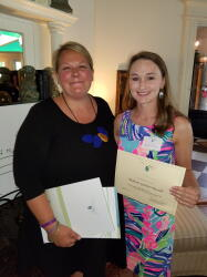 Madison Russell, 2018 recipient of the Meredith Griffin Revels Scholarship, poses for a photo with NCCF Regional Director Natalie Jenkins Peel.