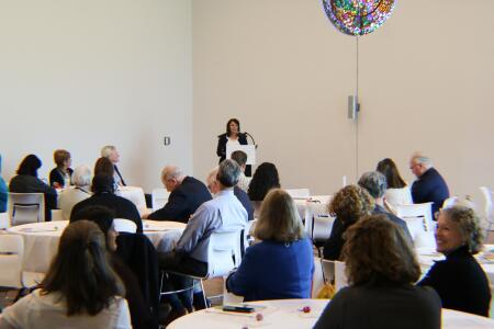 Kristi Sullivan, NHCCF board president, addressing attendees at Pop-Up Philanthropy.