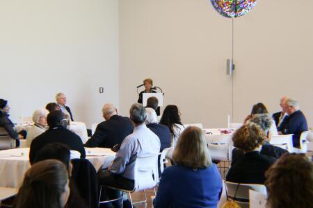 Barbara Patten, BCCF board president, addressing attendees at Pop-Up Philanthropy.