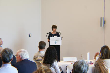 Jennifer Tolle Whiteside, NCCF CEO and president, addressing attendees at Pop-Up Philanthropy.