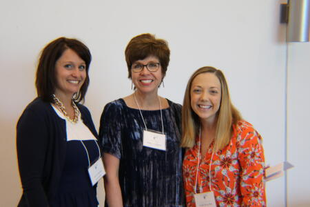 Kristi Sullivan, NHCCF board president; Jennifer Tolle Whiteside, NCCF CEO and president; and Hollis Moye Ray, NHCCF board member; posing for a photo at Pop-Up Philanthropy.