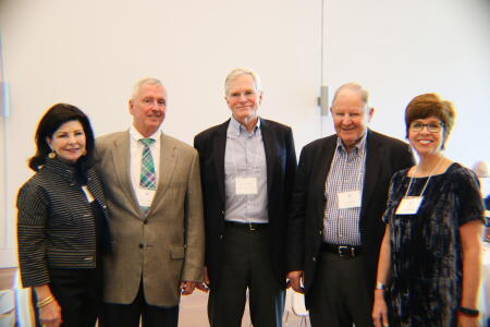 Anne Sorhagen, NCCF southeastern regional director; Frank Gibson, NHCCF and NCCF statewide board member; Rod Martin, NCCF statewide board vice-chair; Ned Barclay, NHCCF board member; and Jennifer Tolle Whiteside, NCCF CEO and president, posing for a photo at Pop-Up Philanthropy.