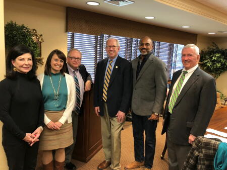 Left to right are: Anne Sorhagen, NCCF regional director; Kristi Sullivan, board president; Steve Gaskins, board member; Judge J.H. Corpening, II; Patrick Boykin, board vice president; and Frank Gibson, member of both the NHCCF and the statewide board.