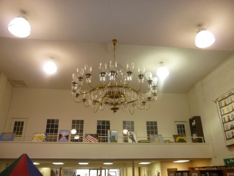 The massive chandelier in the Vass Area Library was found in an antique store in Ohio.