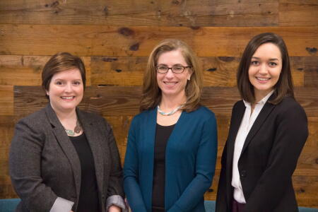 North Carolina Network of Grantmakers staff Sarah Mann Willcox, Program Director; Ret Boney, Executive Director; and Tori Small, Member Services Associate.