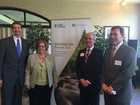 Left to right: David Fountain, Dan River Community Foundation Executive Director Debra Dodson, Ben Tucker, and Duke Energy's Davis Montgomery.