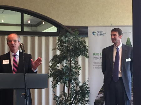 Ben Tucker (left) joins Duke Energy State President David Fountain in announcing the grants.