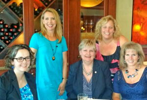 L-R: Katie Crumpler, NCCF regional associate; Sarah Perkins, grants chair, Karen Mills, Heather Sefried and Becca Smith.