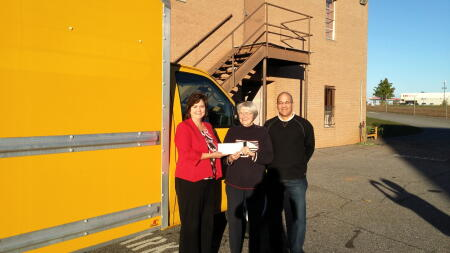 Jackie Hunnicutt and Bill Harris Present Grant Check to Gail Spiers, Chairman of the Board from Samaritan Kitchen of Wilkes, Inc.: $2,010 for Van Purchase.