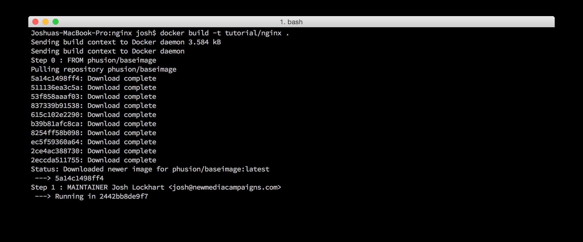 Docker build command