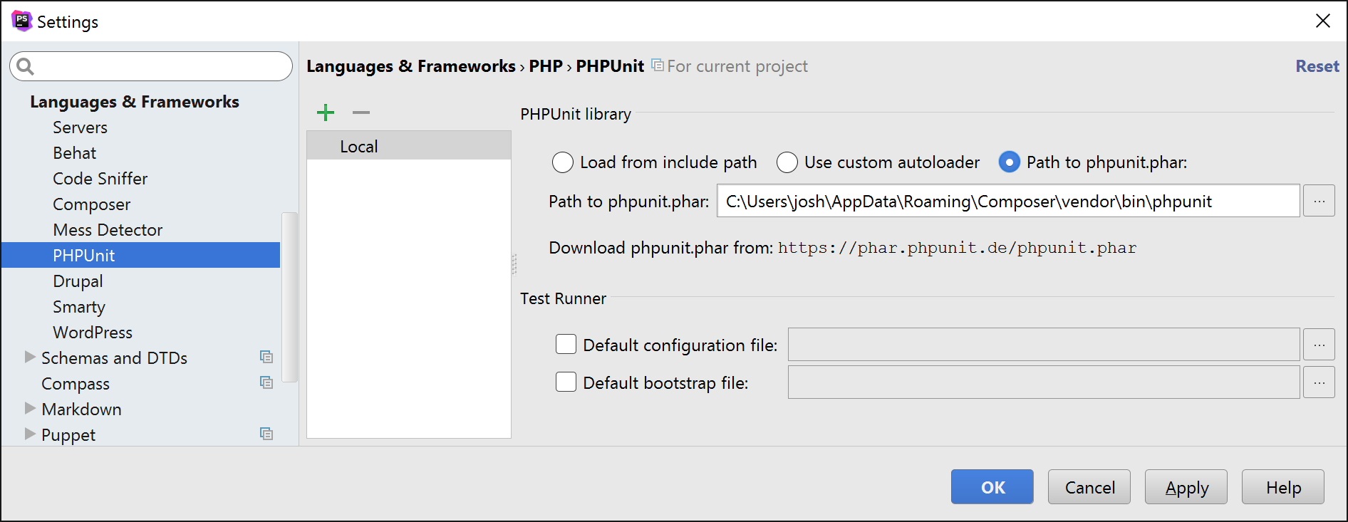 PHPUnit in PHPStorm