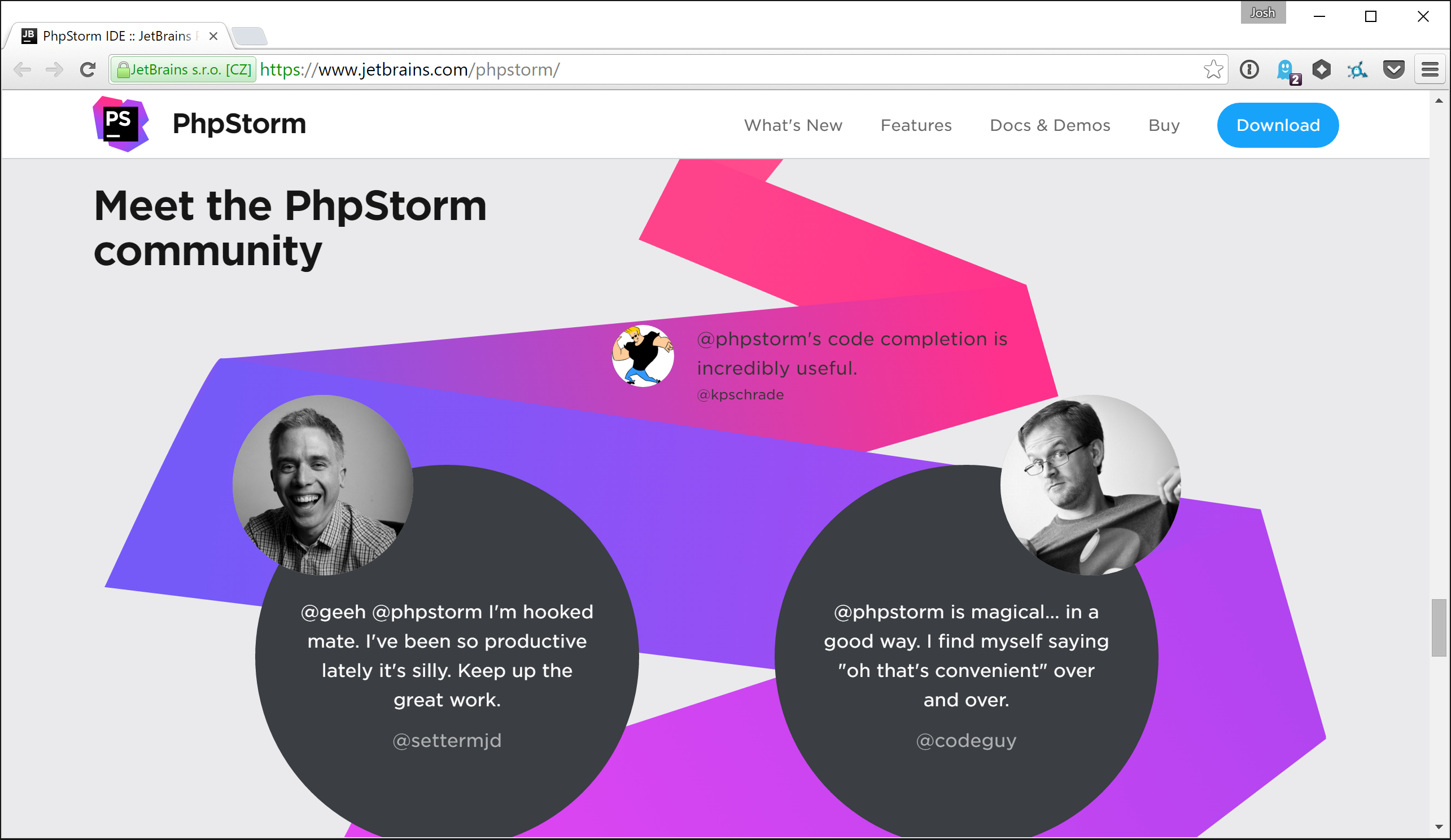 PHPStorm website with @codeguy testimonial