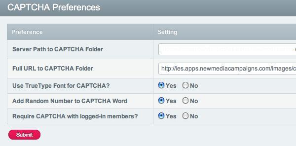 ExpressionEngine CAPTCHA Preferences
