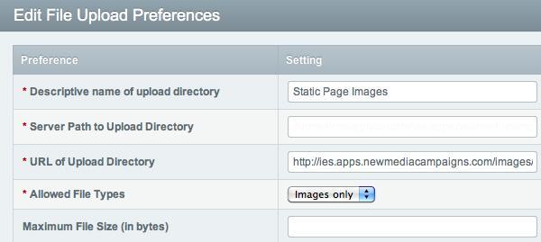ExpressionEngine File Upload Preferences