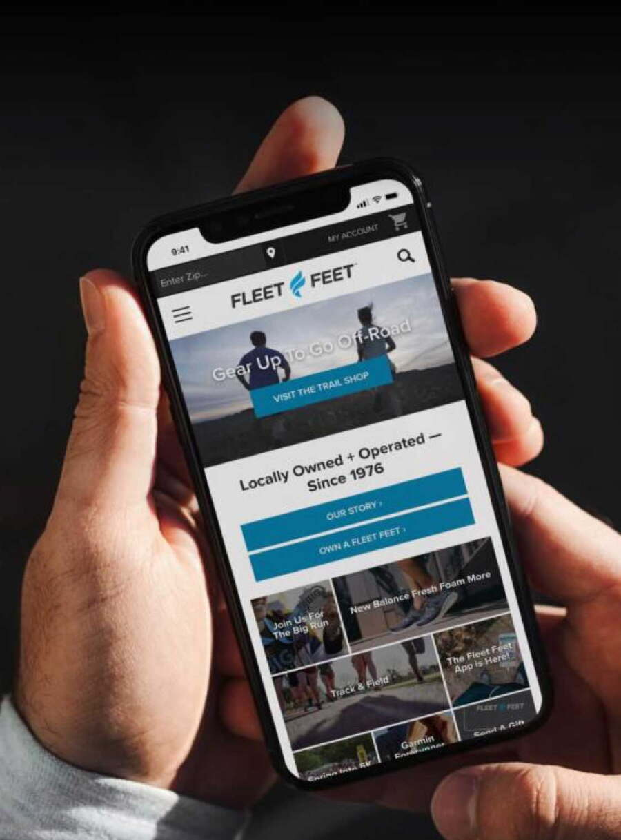 Fleet Feet site on iPhone