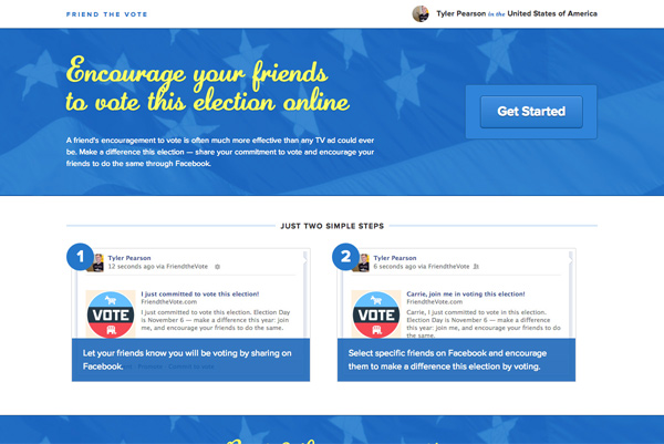 Friend the Vote homepage