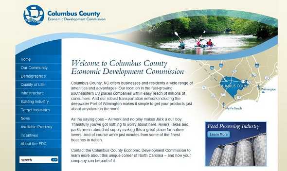 columbus county homepage design