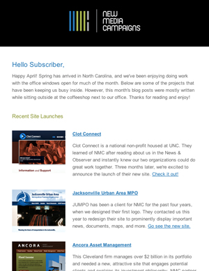 New Media Campaigns Email Newsletter