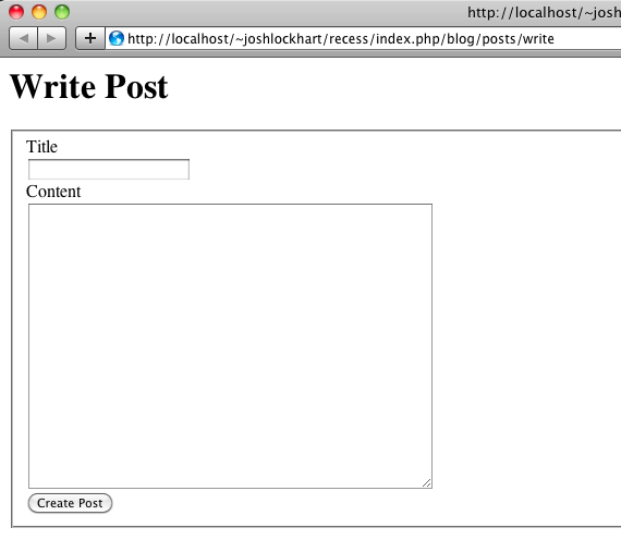 Write post HTML form